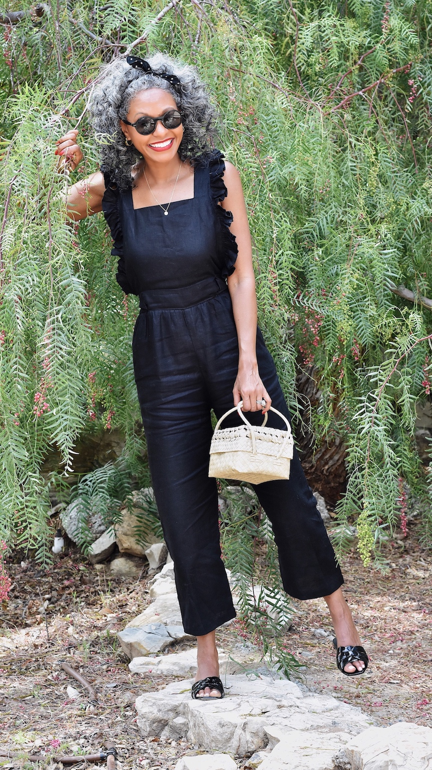 Black ruffled overalls for a chic picnic outfit // A Week Of Sophisticated Slow Fashion Outfits With Tennille Murphy From The Tennille Life on The Good Trade