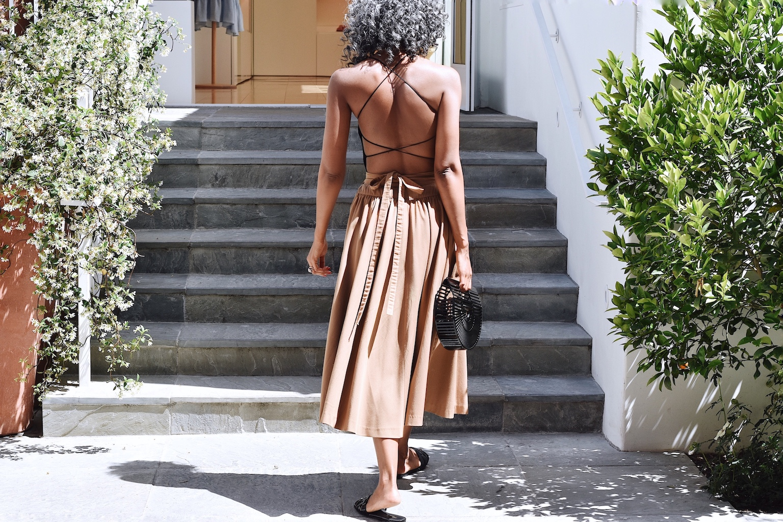 Nude skirt with strappy tank top for summer // A Week Of Sophisticated Slow Fashion Outfits With Tennille Murphy From The Tennille Life on The Good Trade