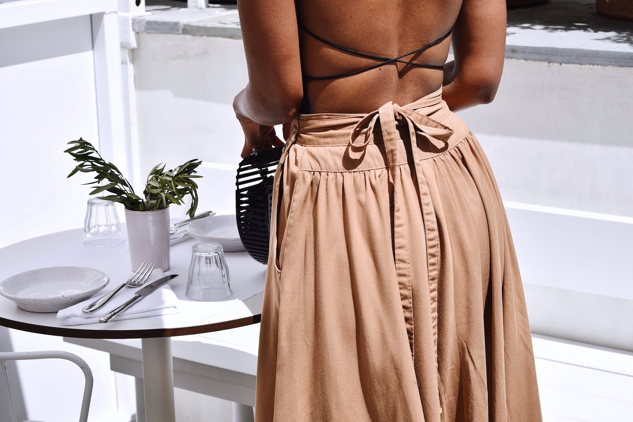 Back detail of a strappy tank top // A Week Of Sophisticated Slow Fashion Outfits With Tennille Murphy From The Tennille Life on The Good Trade
