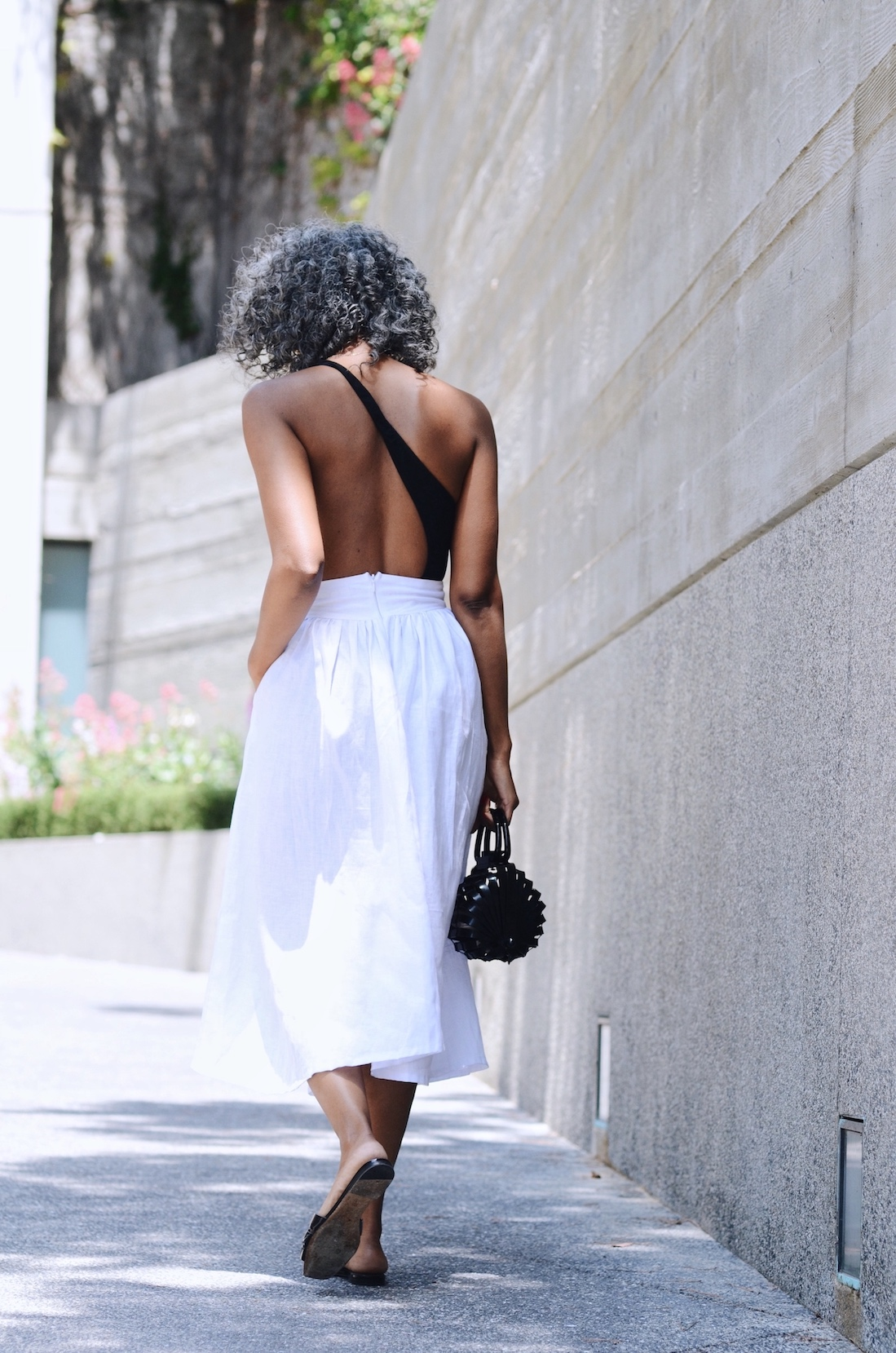 Asymmetrical bodysuit adds drama to a simple summer outfit // A Week Of Sophisticated Slow Fashion Outfits With Tennille Murphy From The Tennille Life on The Good Trade
