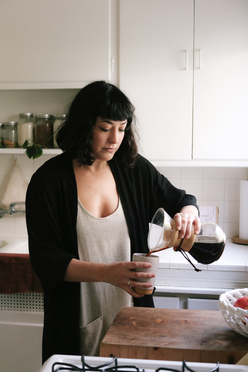 Morning coffee in a kimono and dress  // A Week Of Made-In-LA Outfits With Rachel Temko, Founder Of Whimsy + Row on The Good Trade