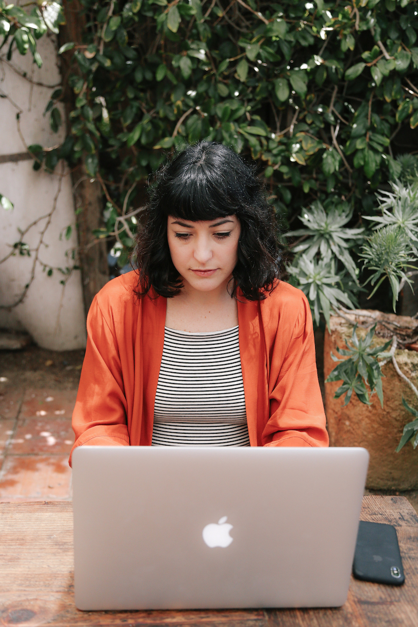 Rust red kimono and striped top  // A Week Of Made-In-LA Outfits With Rachel Temko, Founder Of Whimsy + Row on The Good Trade