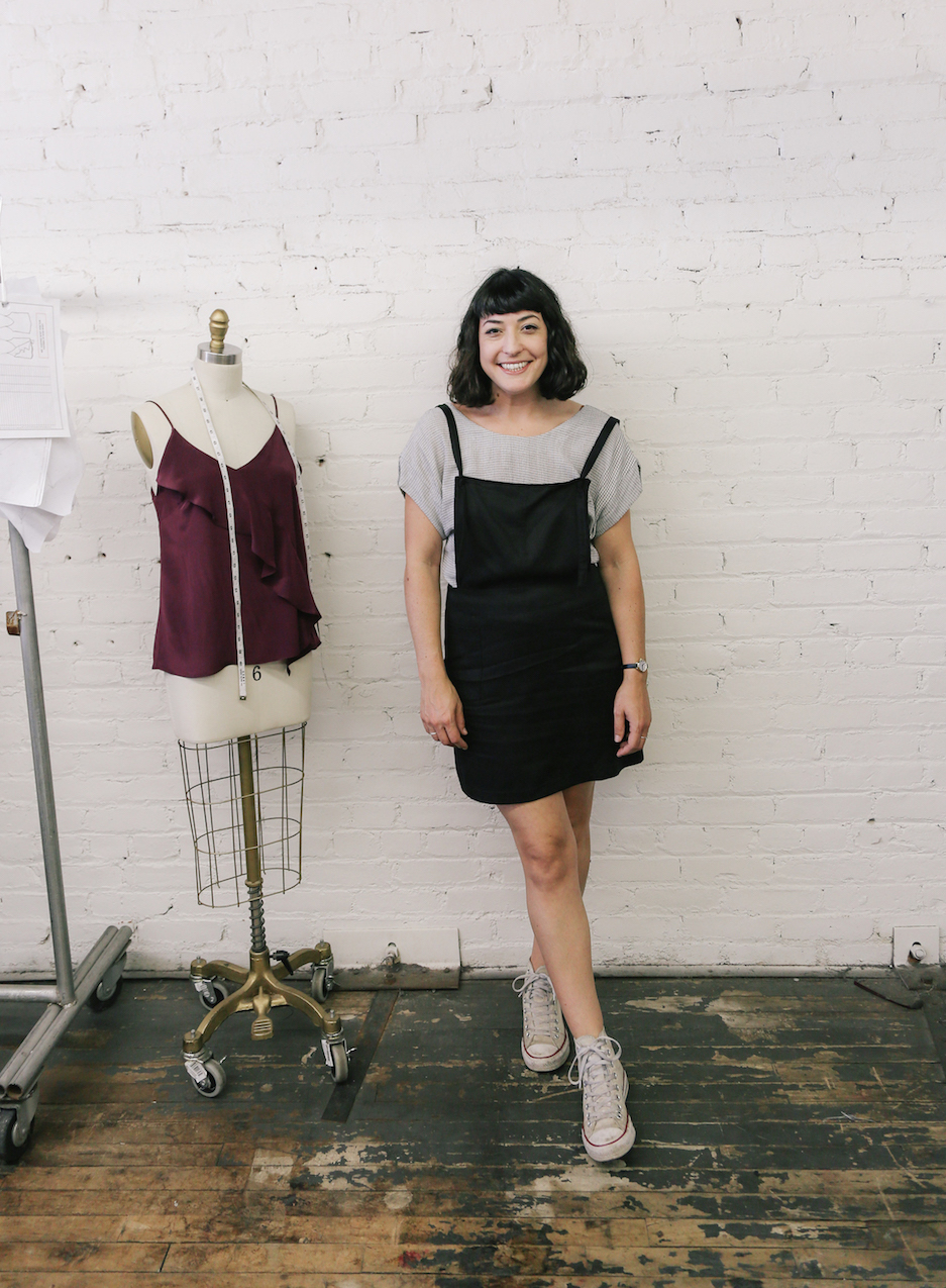 Pinafore dress over a plaid top // A Week Of Made-In-LA Outfits With Rachel Temko, Founder Of Whimsy + Row on The Good Trade