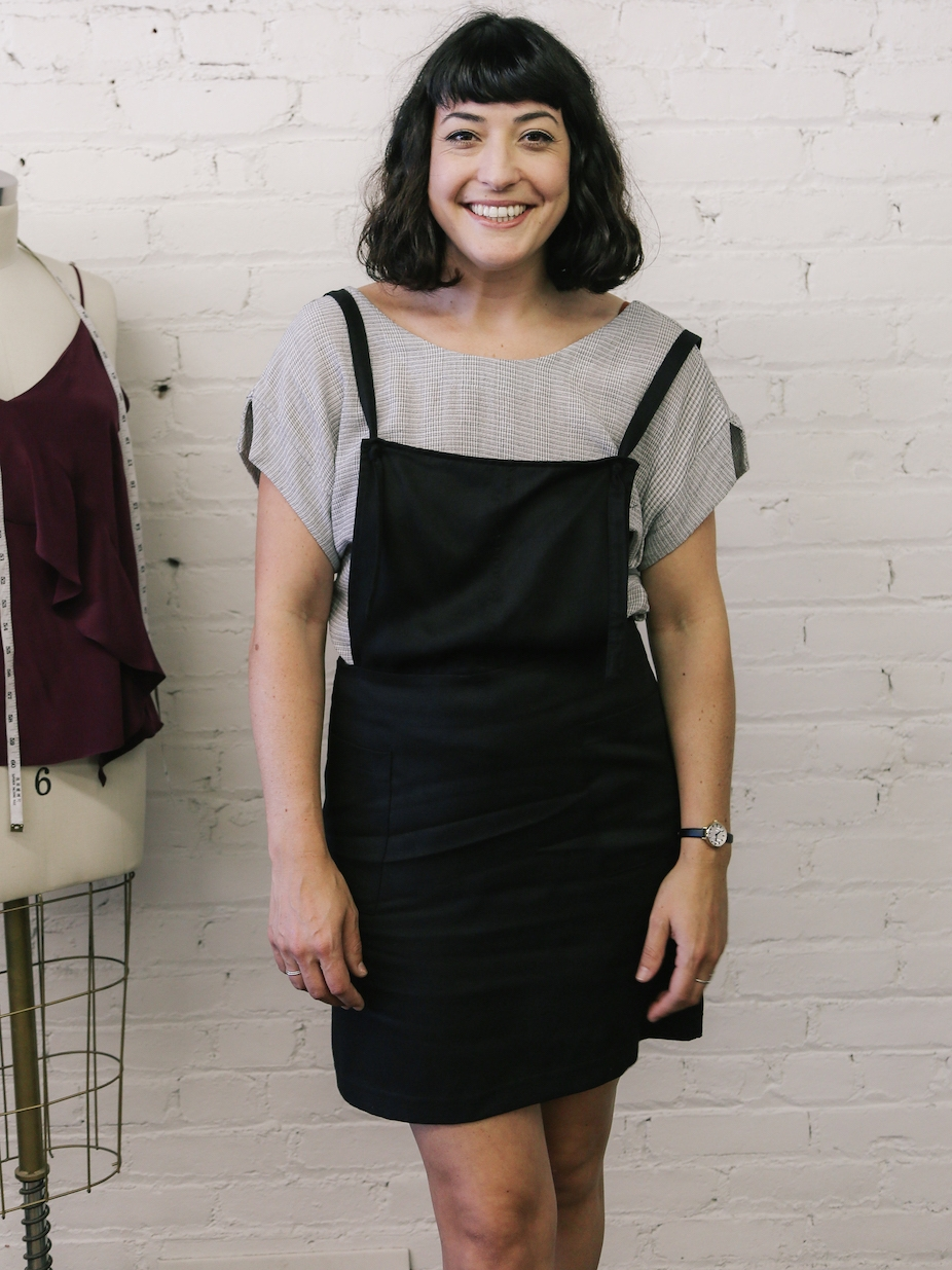Pinafore dress minimalist outfit // A Week Of Made-In-LA Outfits With Rachel Temko, Founder Of Whimsy + Row on The Good Trade