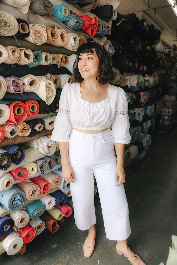 Vintage peasant top for an all-white outfit // A Week Of Made-In-LA Outfits With Rachel Temko, Founder Of Whimsy + Row on The Good Trade