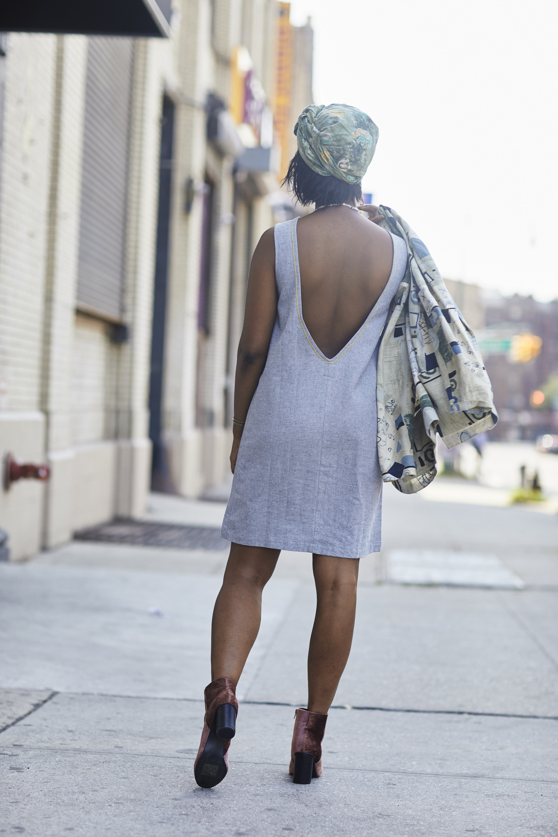 Low back shift dress // A Week Of Outfits With Dominique Drakeford, Founder Of Melanin & Sustainable Style on The Good Trade