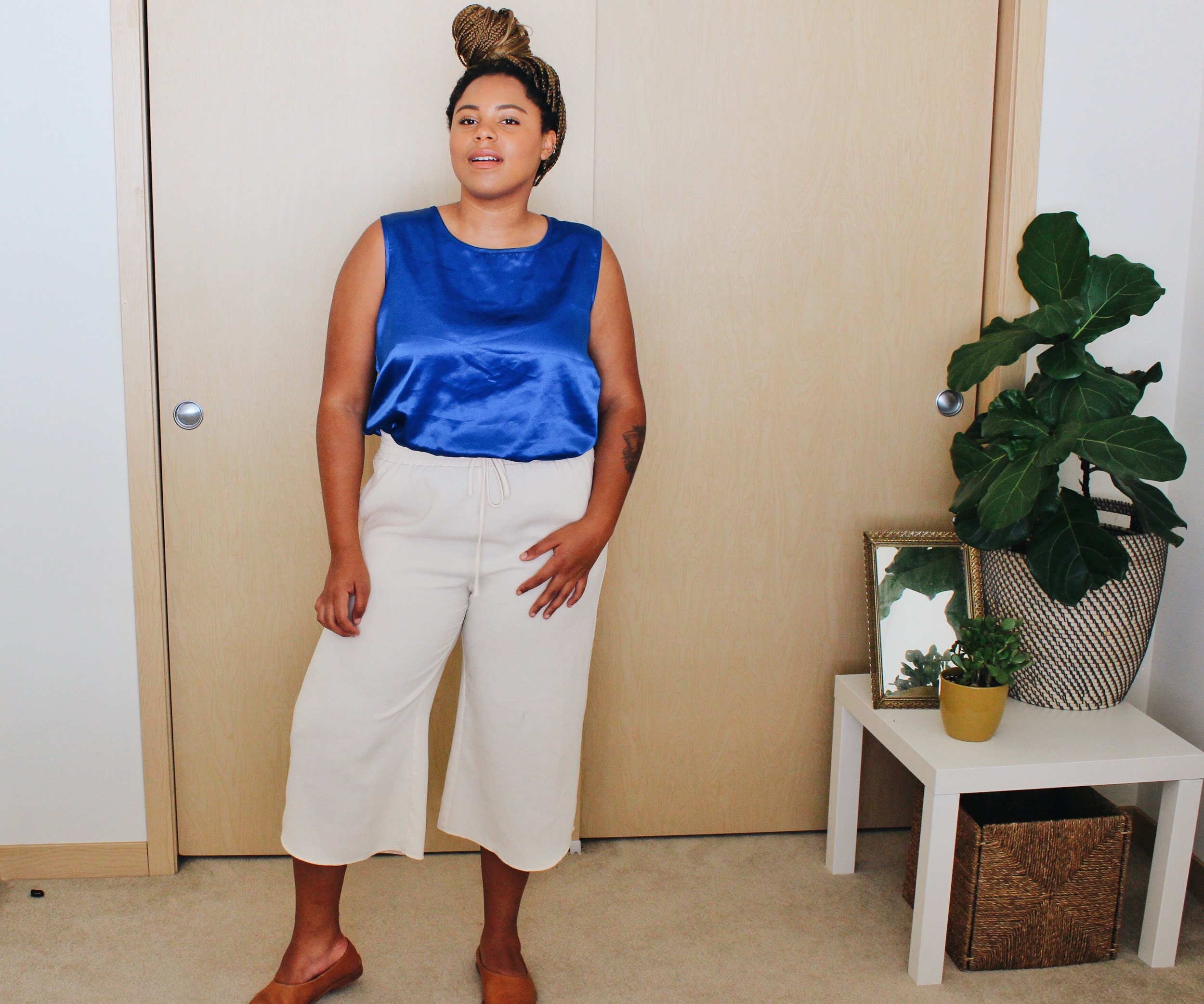 Metallic blue tank with cream culottes // A Week Of Boho Minimalist Outfits With Deborah Shepherd From Clothed In Abundance on The Good Trade