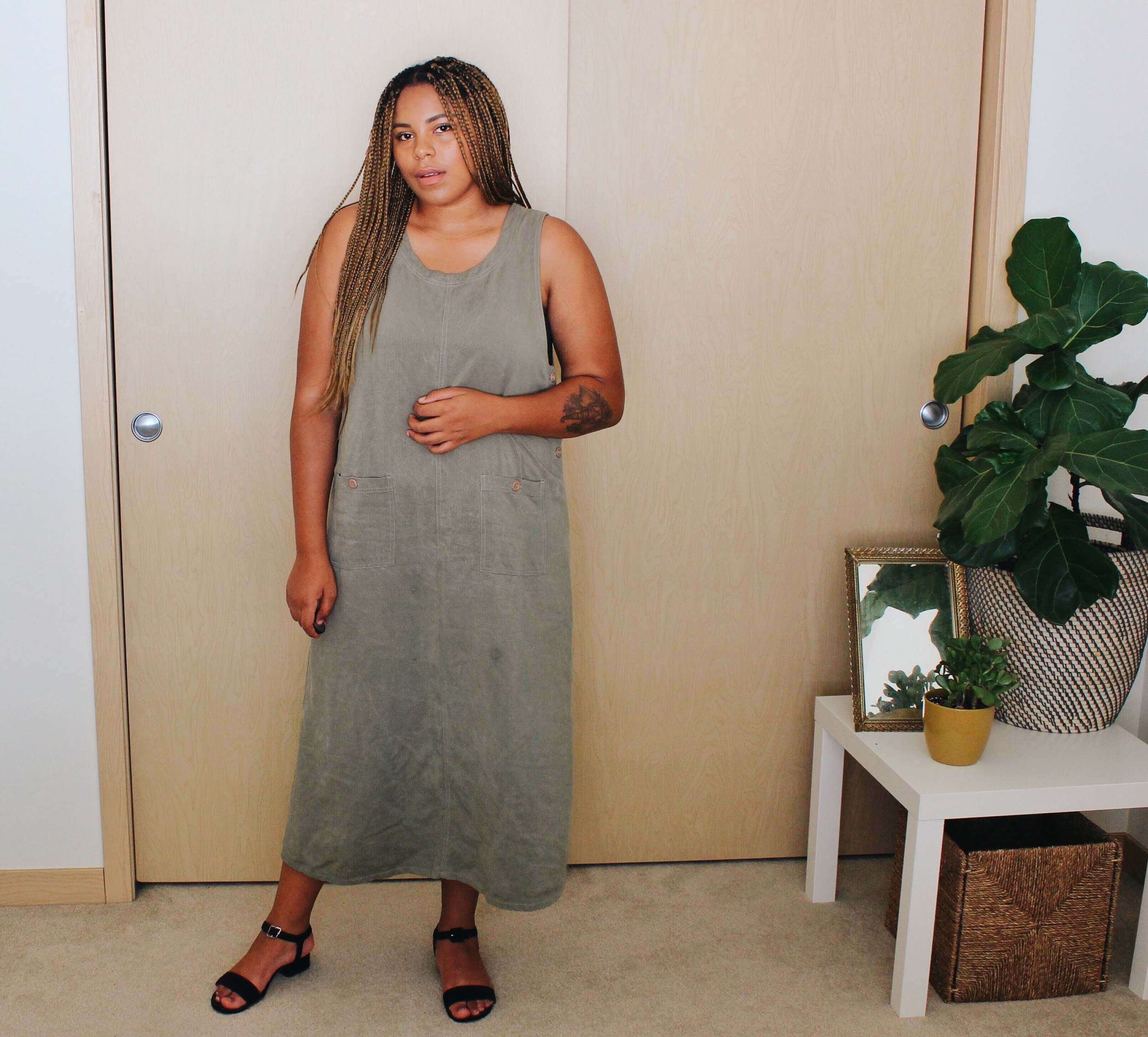 Muted green linen slip dress // A Week Of Boho Minimalist Outfits With Deborah Shepherd From Clothed In Abundance on The Good Trade