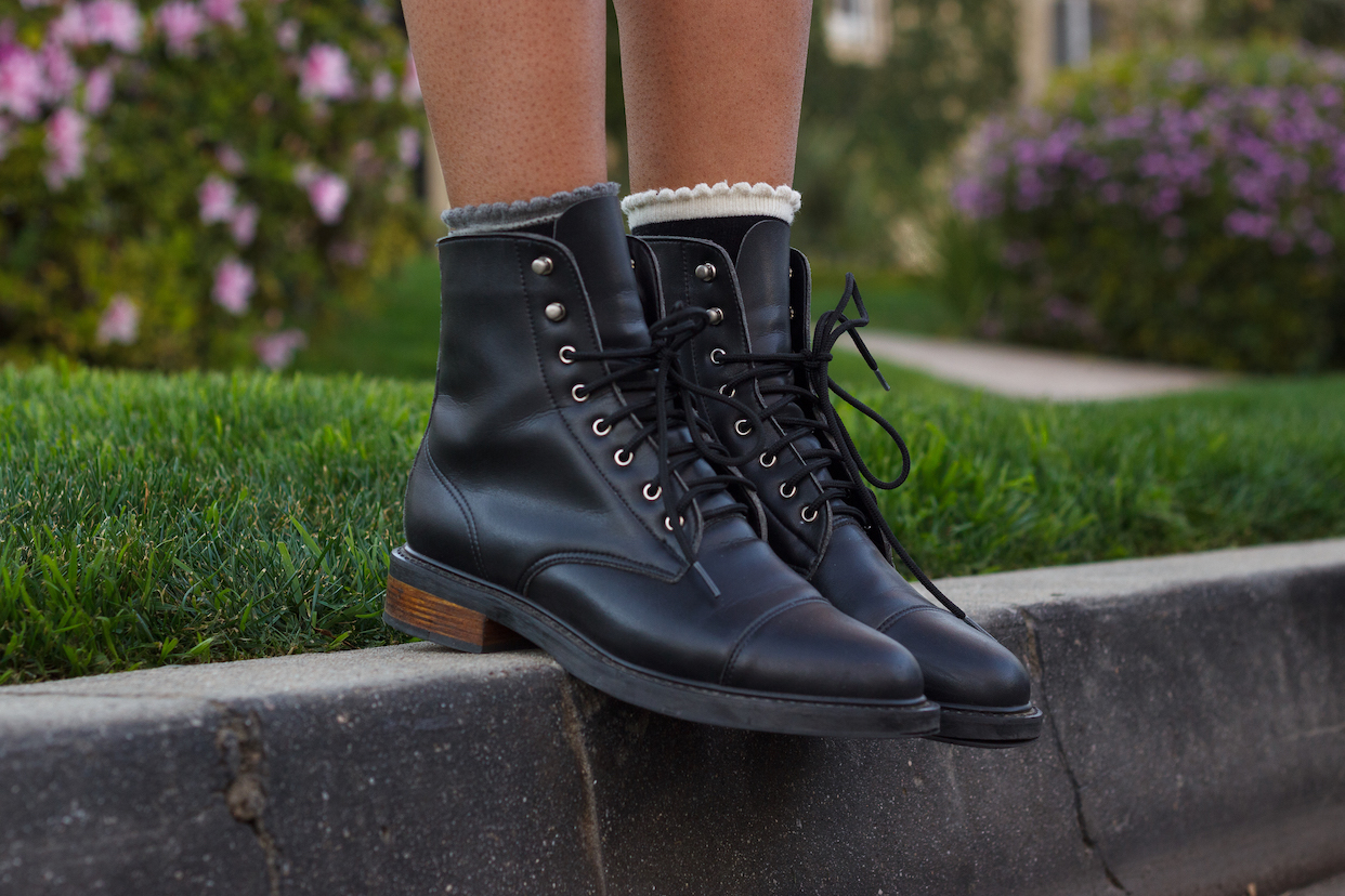 Vegan combat boots with frilly socks // A Week Of Hollywood-Inspired Outfits With Conscious Style Blogger Jeneice Thompson on The Good Trade