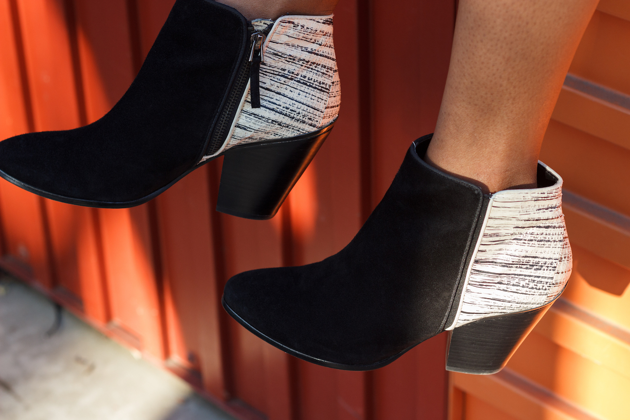 Secondhand black and white booties // A Week Of Hollywood-Inspired Outfits With Conscious Style Blogger Jeneice Thompson on The Good Trade