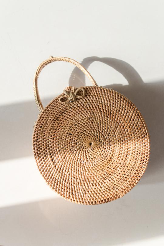 Lyla Wicker Handbag by YIREH | Ethically-Made Woven Circle Bags on 网站名称