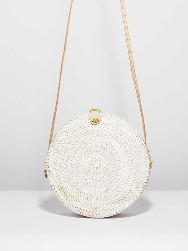 White Wash Basket Bag by Ellen & James | Ethically-Made Woven Circle Bags on 网站名称