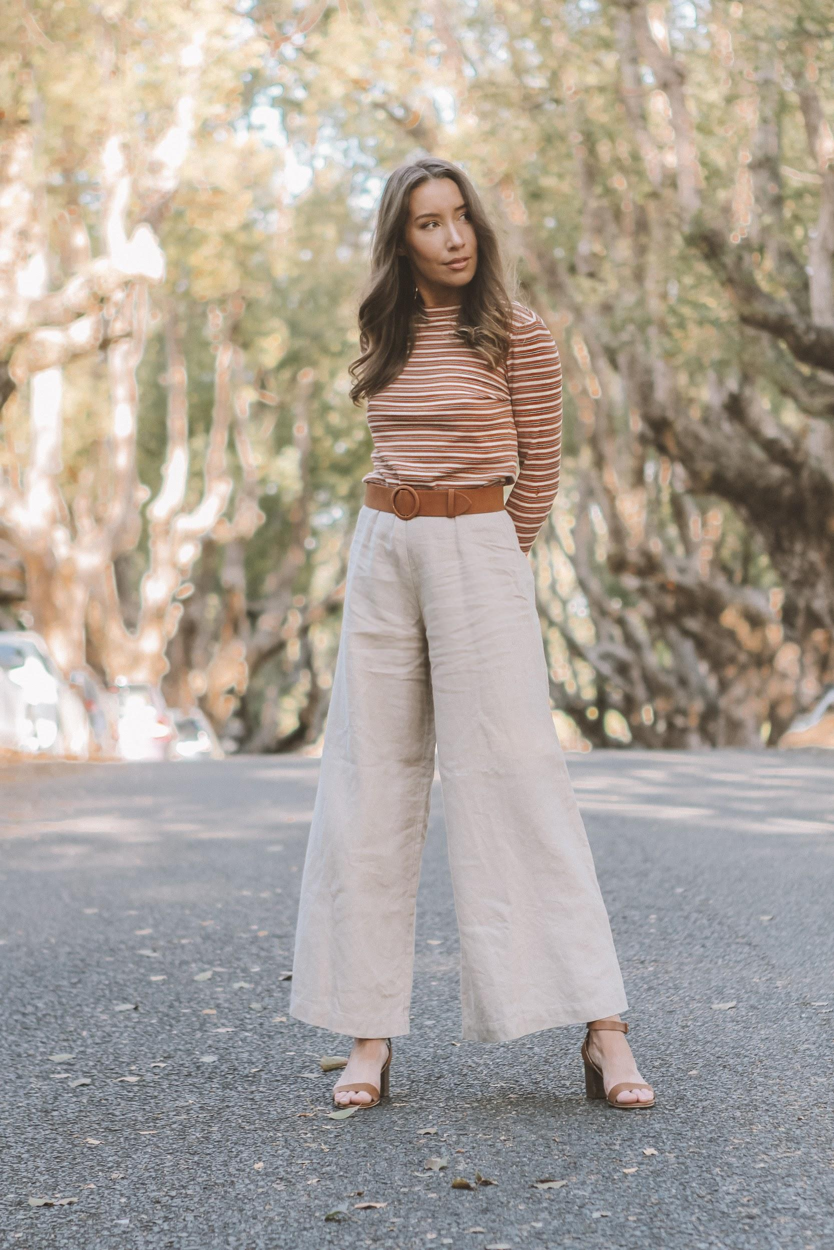 Neutral stripes and high waisted pants for fall | A Week Of Consciously Curated Outfits With Amber Boyers, Founder Of BAIIA And The Conscious Cut on The Good Trade