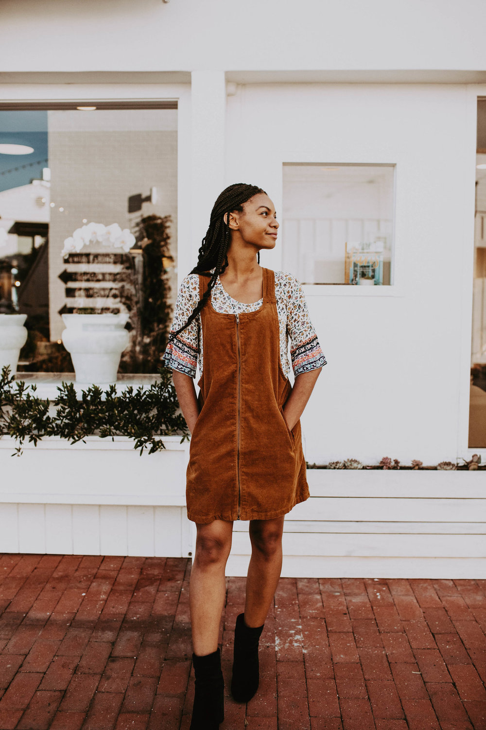 Corduroy dress for fall // A Week Of 1970s-Inspired Outfits With Leah Thomas, The Sustainable Lifestyle Blogger Behind Green Girl Leah on The Good Trade