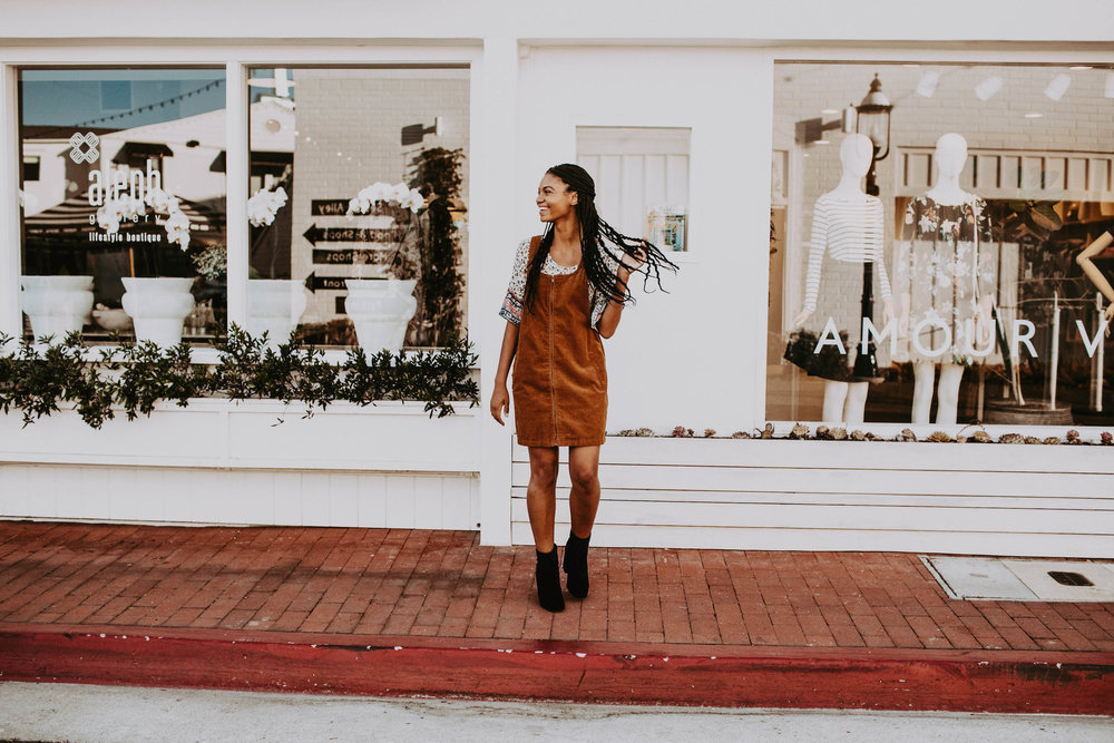 Fall dress with black booties // A Week Of 1970s-Inspired Outfits With Leah Thomas, The Sustainable Lifestyle Blogger Behind Green Girl Leah on The Good Trade