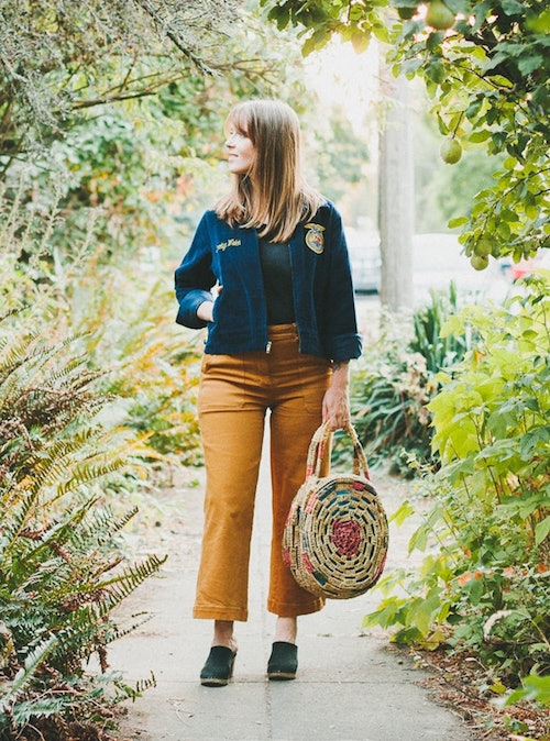 Fall Outfit Inspiration From Sustainable Style Bloggers - Conscious By Chloé in mustard pants and a blue jacket