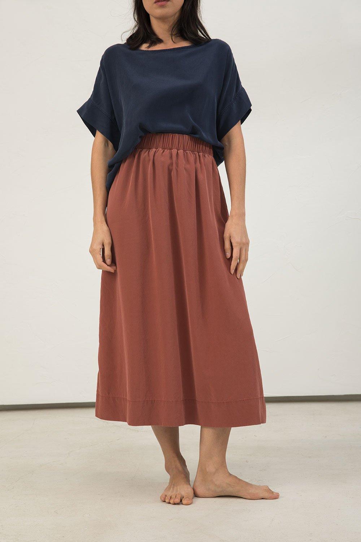 Elizabeth Suzann Rust Colored Silk Crepe Long Skirt