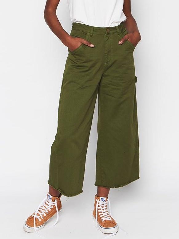 Green Organic Cotton Painter Pants