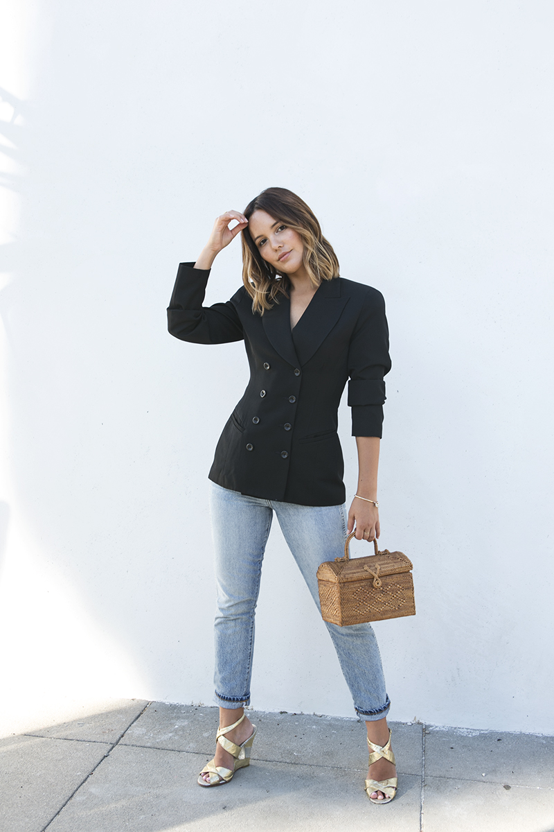 Double breasted black blazer with jeans // A Week Of Intentional & Sustainable Outfits With Kasha Cabato From Green With Style on The Good Trade