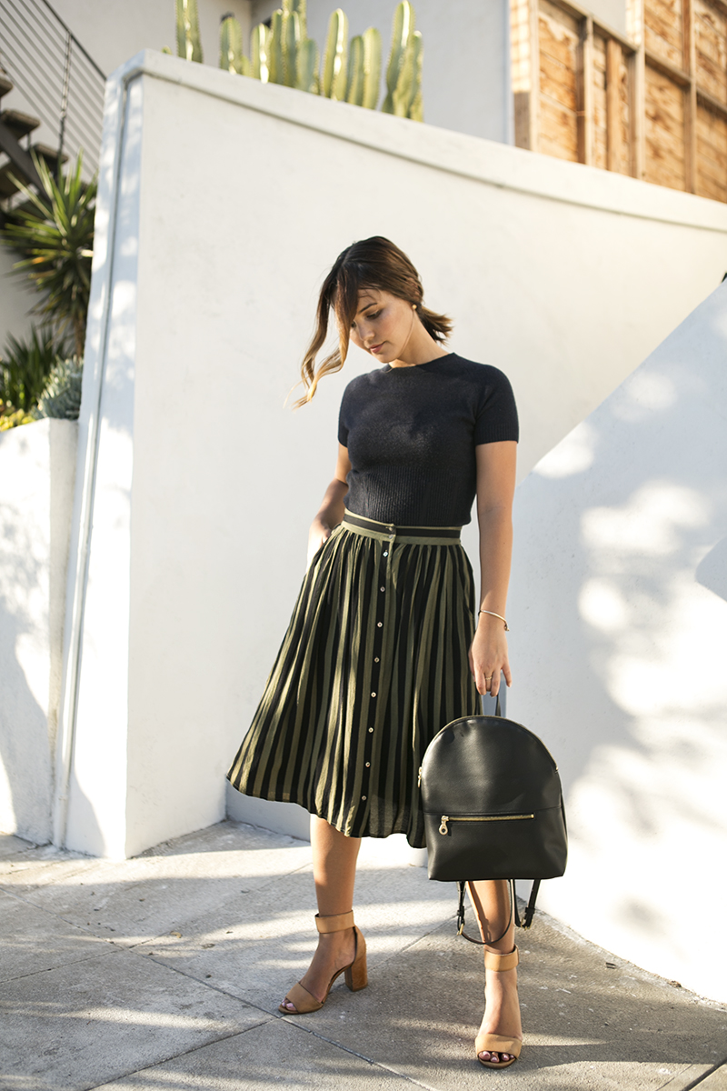 Midi skirt for fall // A Week Of Intentional & Sustainable Outfits With Kasha Cabato From Green With Style on The Good Trade