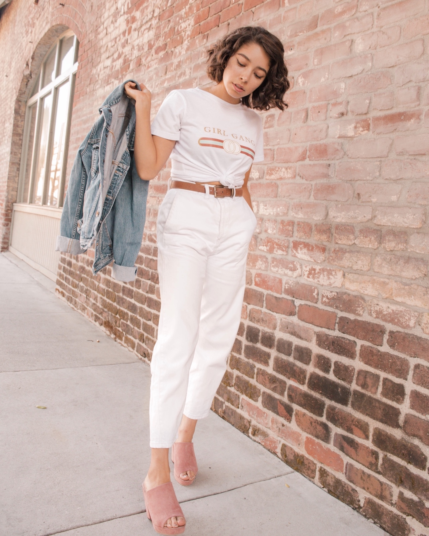 All white outfit with denim jacket // A Week Of Self-Expressive Outfits With Aja Duran From Aja With Love on The Good Trade