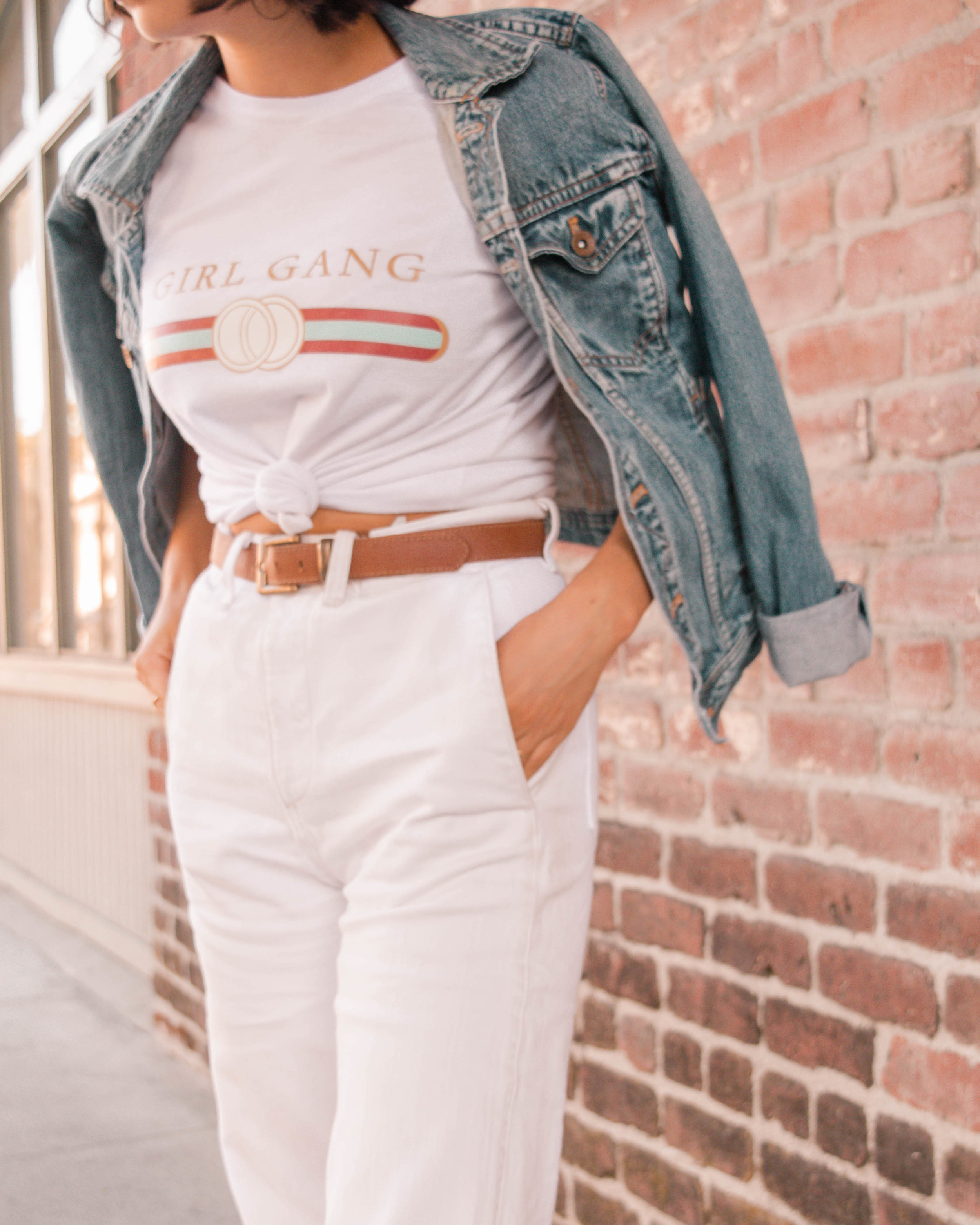 White and denim casual outfit // A Week Of Self-Expressive Outfits With Aja Duran From Aja With Love on The Good Trade