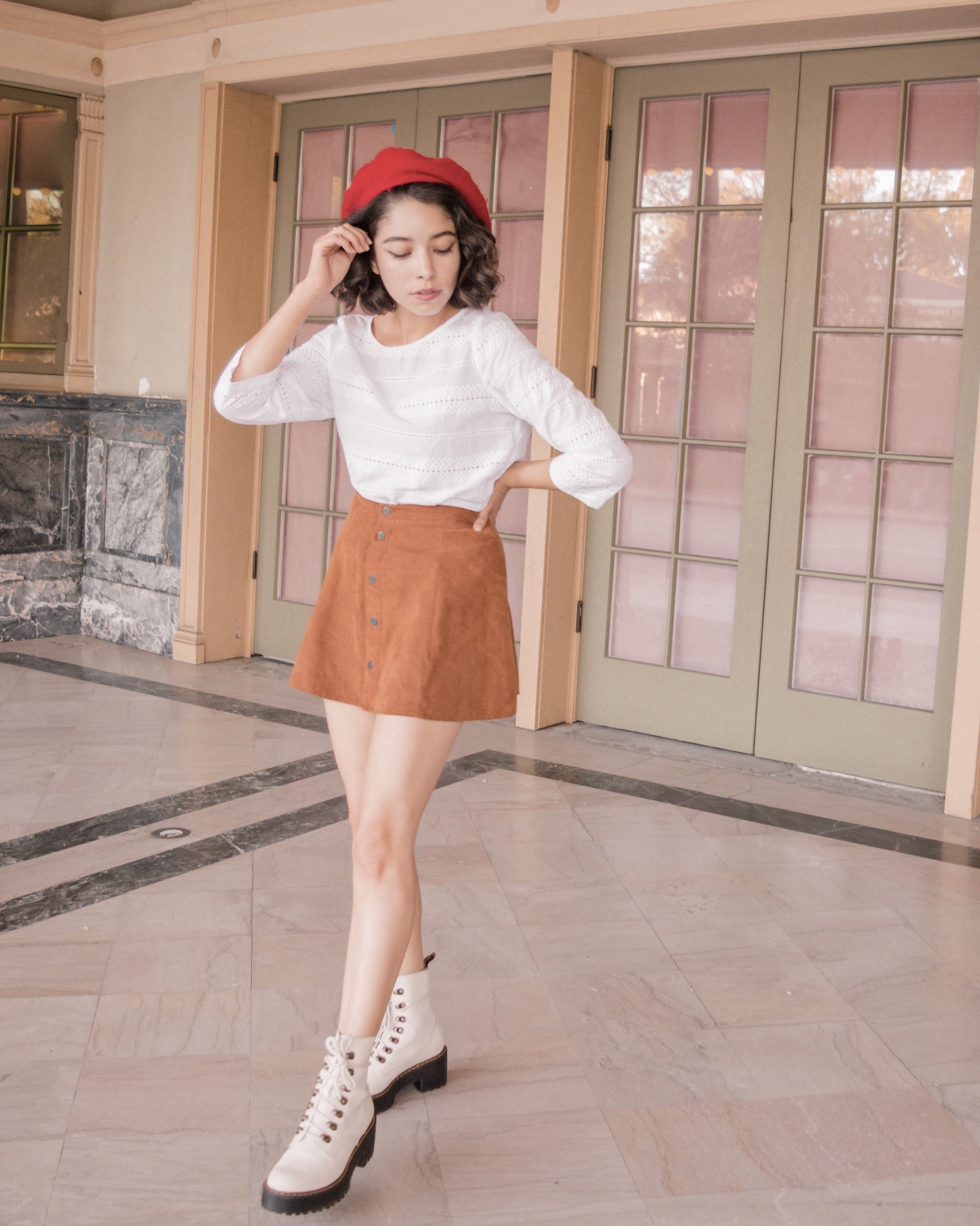 Red beret cute and casual outfit // A Week Of Self-Expressive Outfits With Aja Duran From Aja With Love on The Good Trade