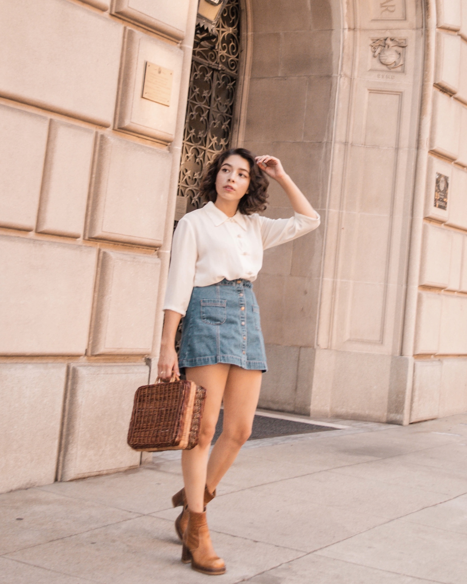 Denim mini skirt with white button down // A Week Of Self-Expressive Outfits With Aja Duran From Aja With Love on The Good Trade