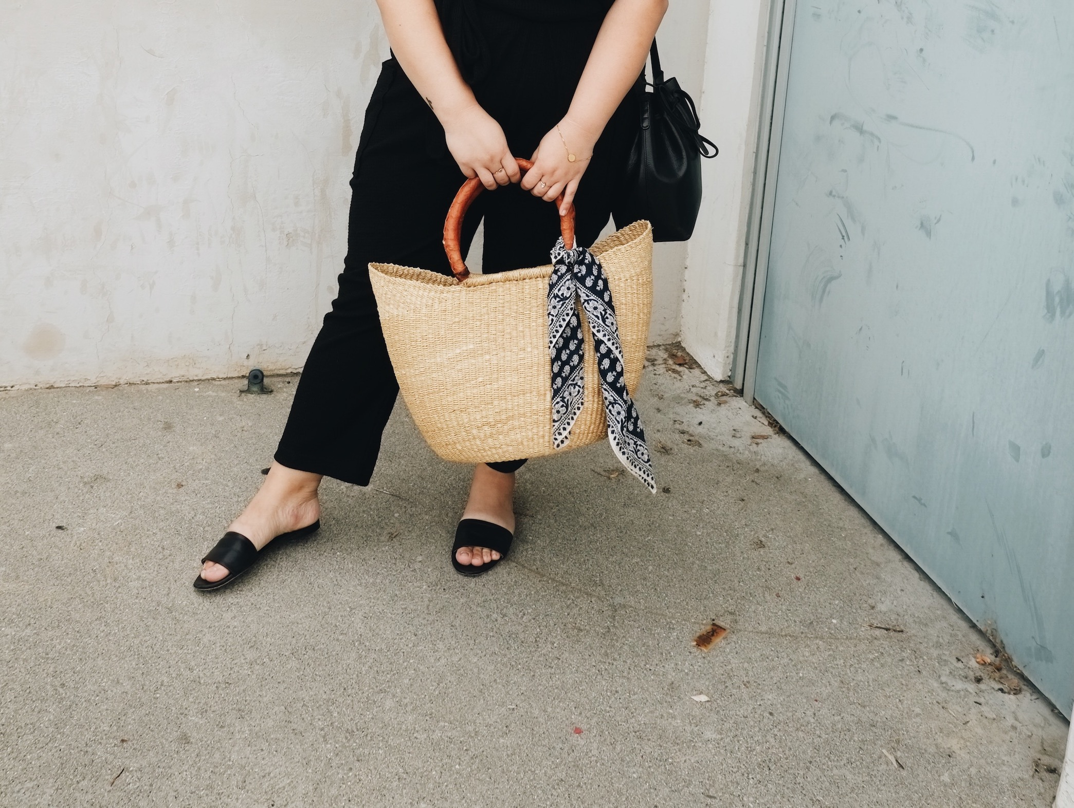 Woven basket bag for Sunday Farmer's Market // A Week Of Minimalist Uniform Outfits With Jasmine Hwang From The Pleb Life on The Good Trade