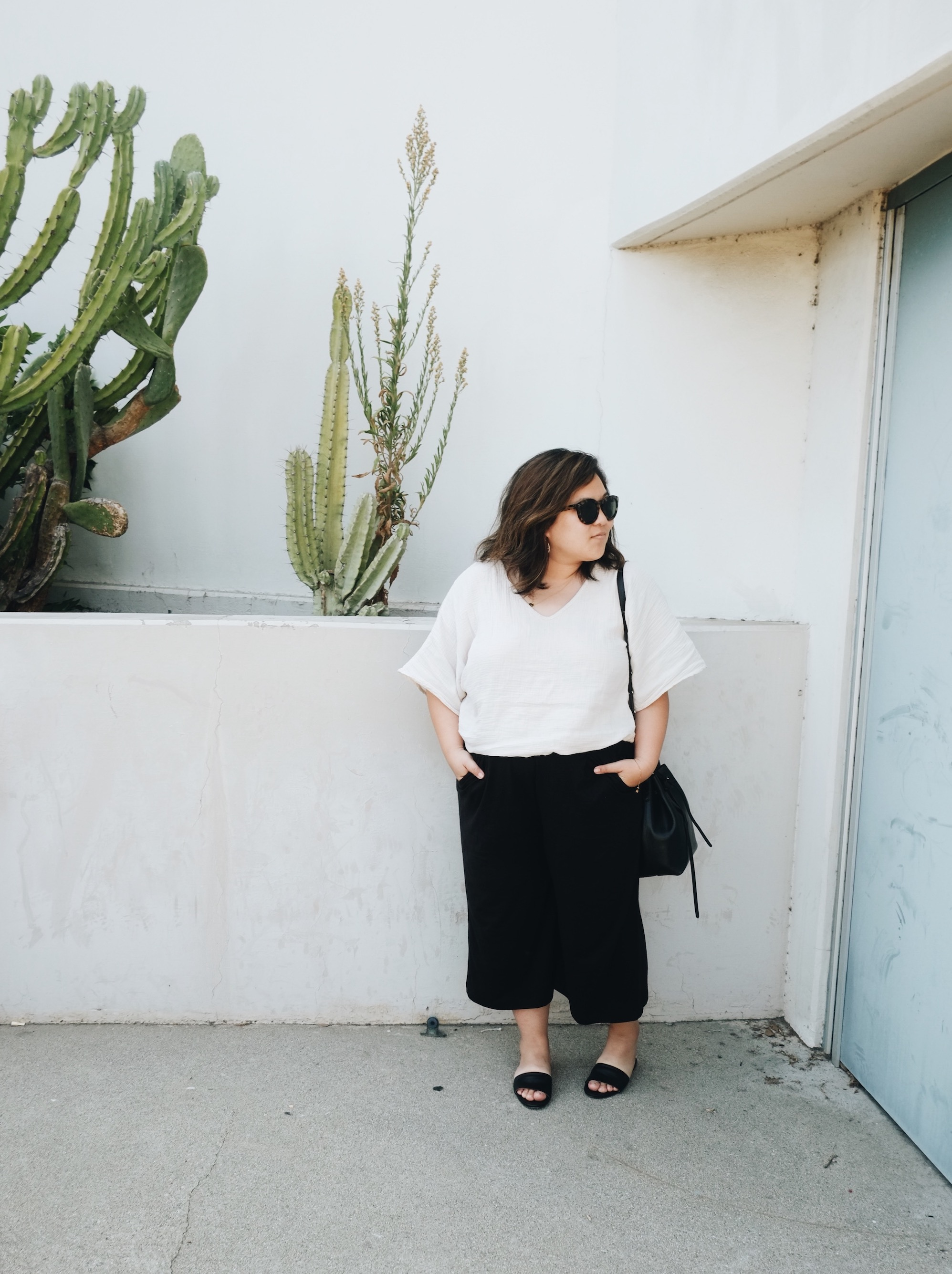Minimalist black and white Monday outfit // A Week Of Minimalist Uniform Outfits With Jasmine Hwang From The Pleb Life on The Good Trade