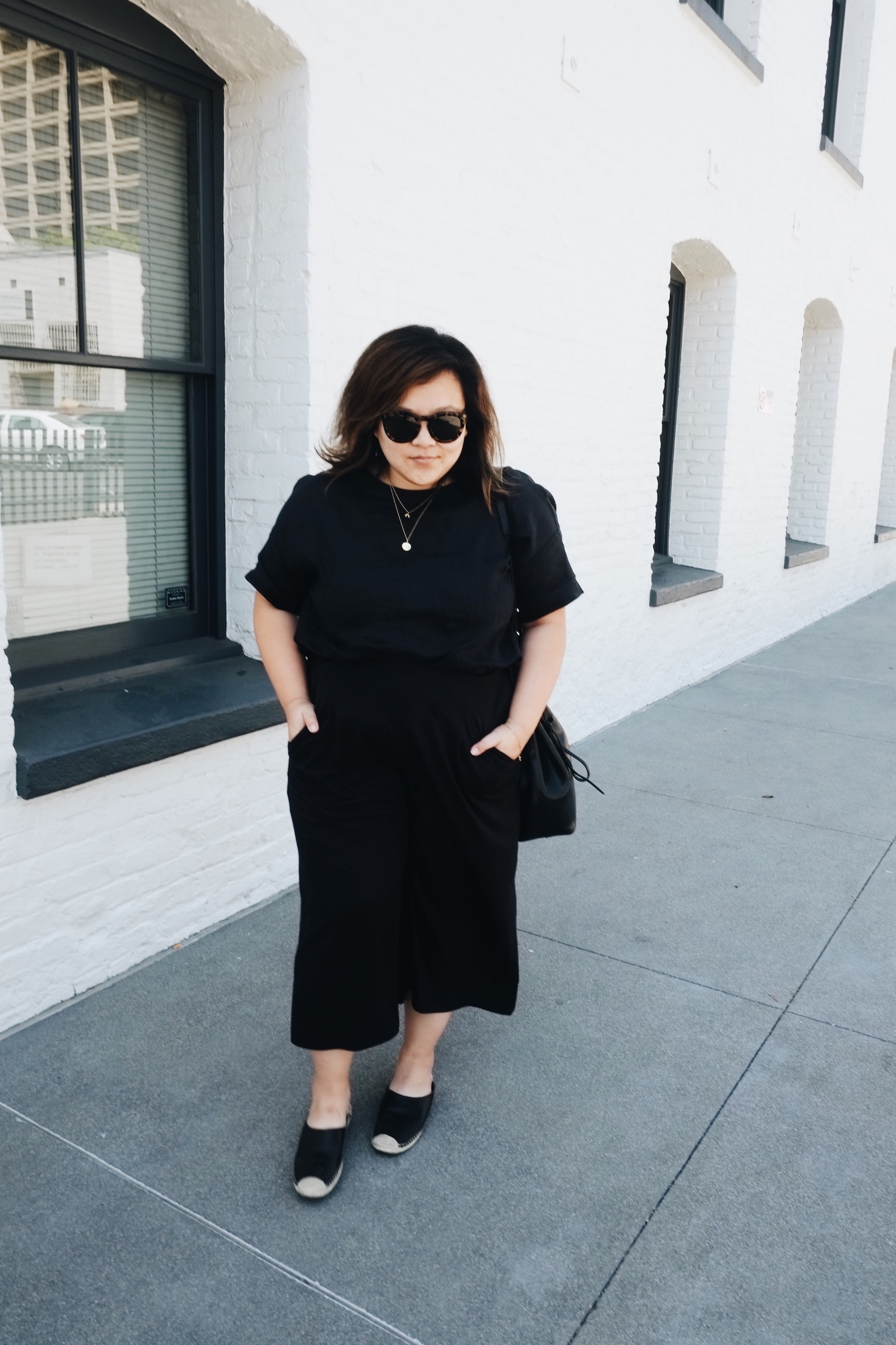 Black on black outfit  // A Week Of Minimalist Uniform Outfits With Jasmine Hwang From The Pleb Life on The Good Trade