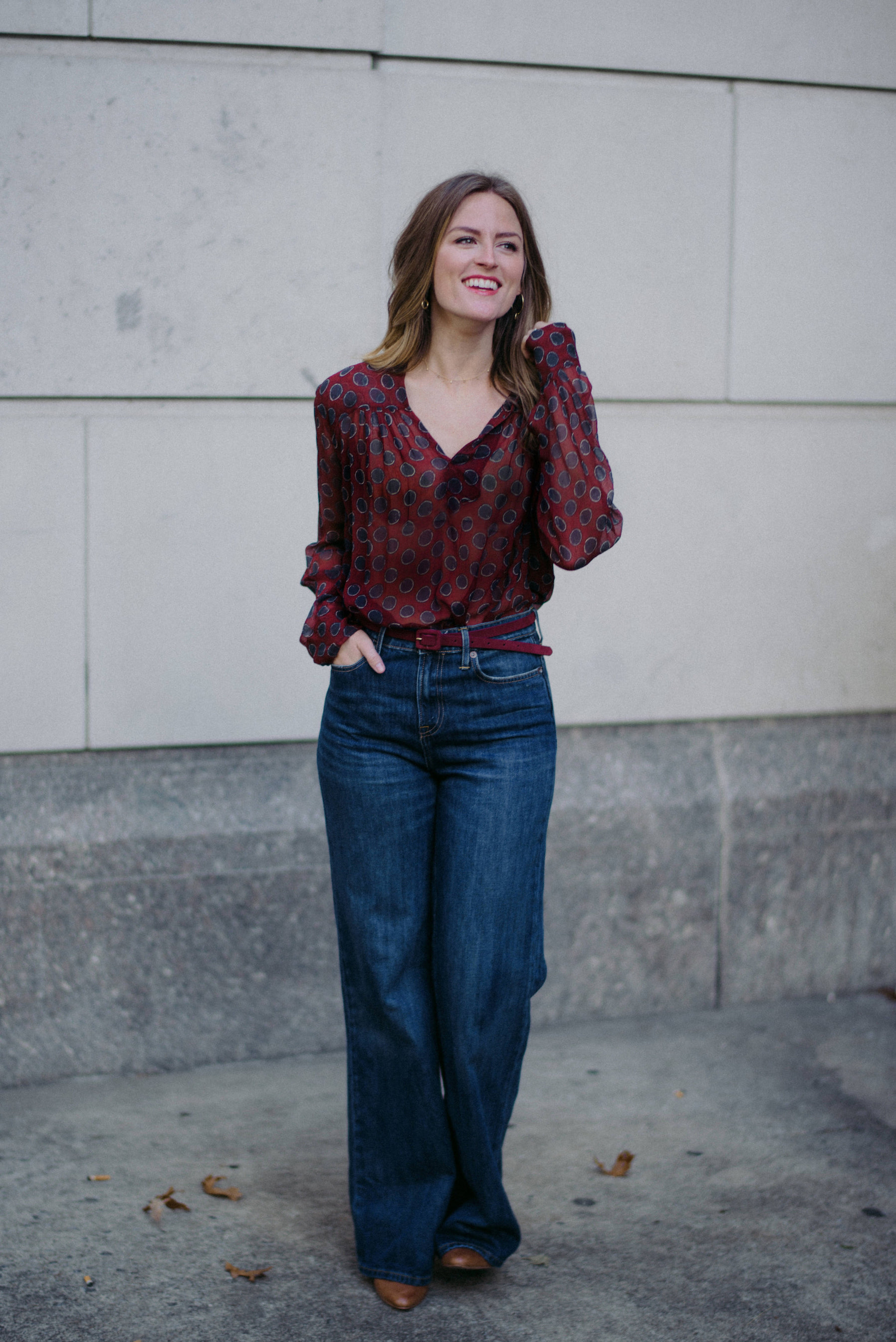 Wide leg denim with button down shirt // A Week Of  Nashville-Chic Ethical Outfits With Jordan Soderholm, Fashion Director At ABLE on The Good Trade