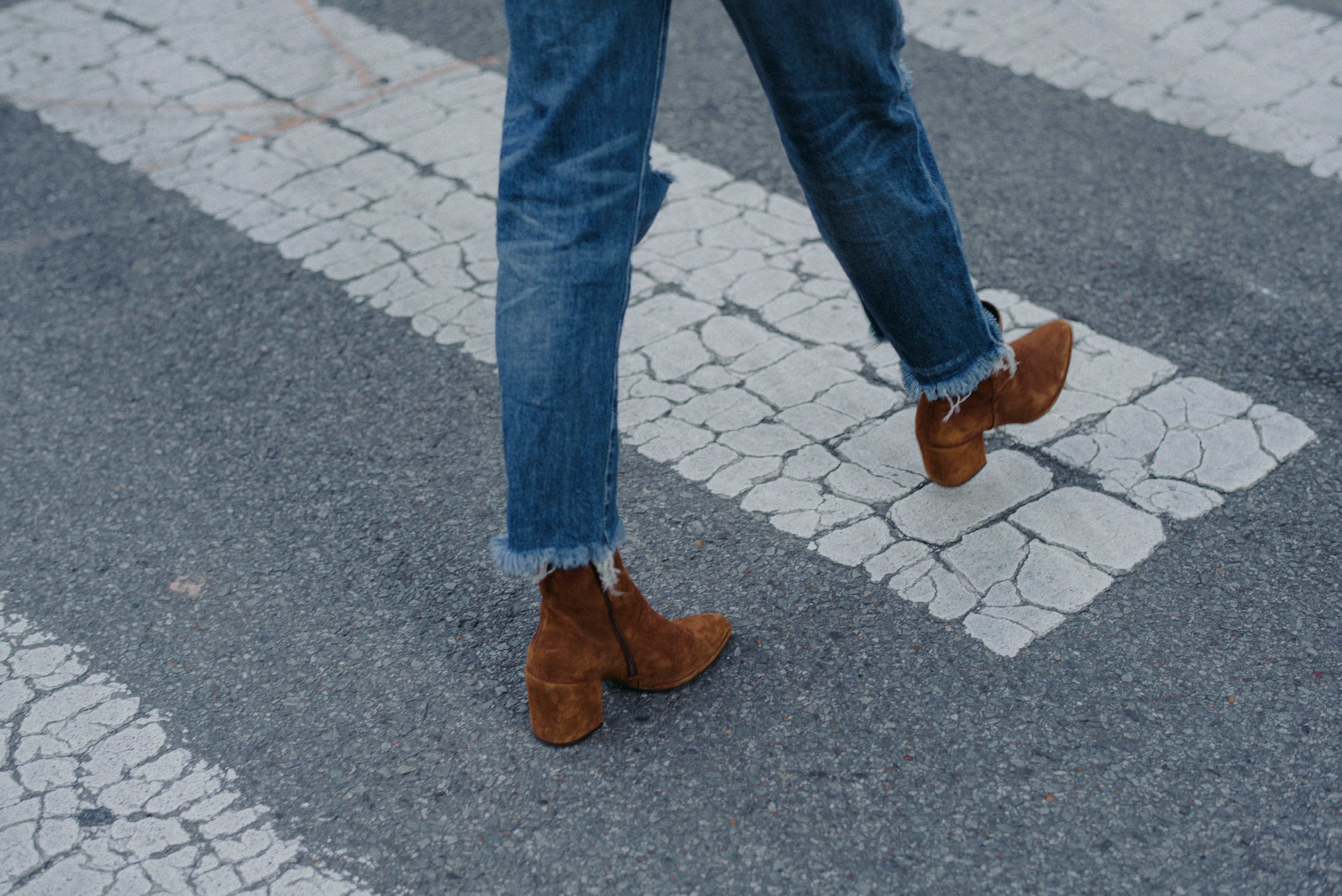 Suede booties in chestnut // A Week Of  Nashville-Chic Ethical Outfits With Jordan Soderholm, Fashion Director At ABLE on The Good Trade