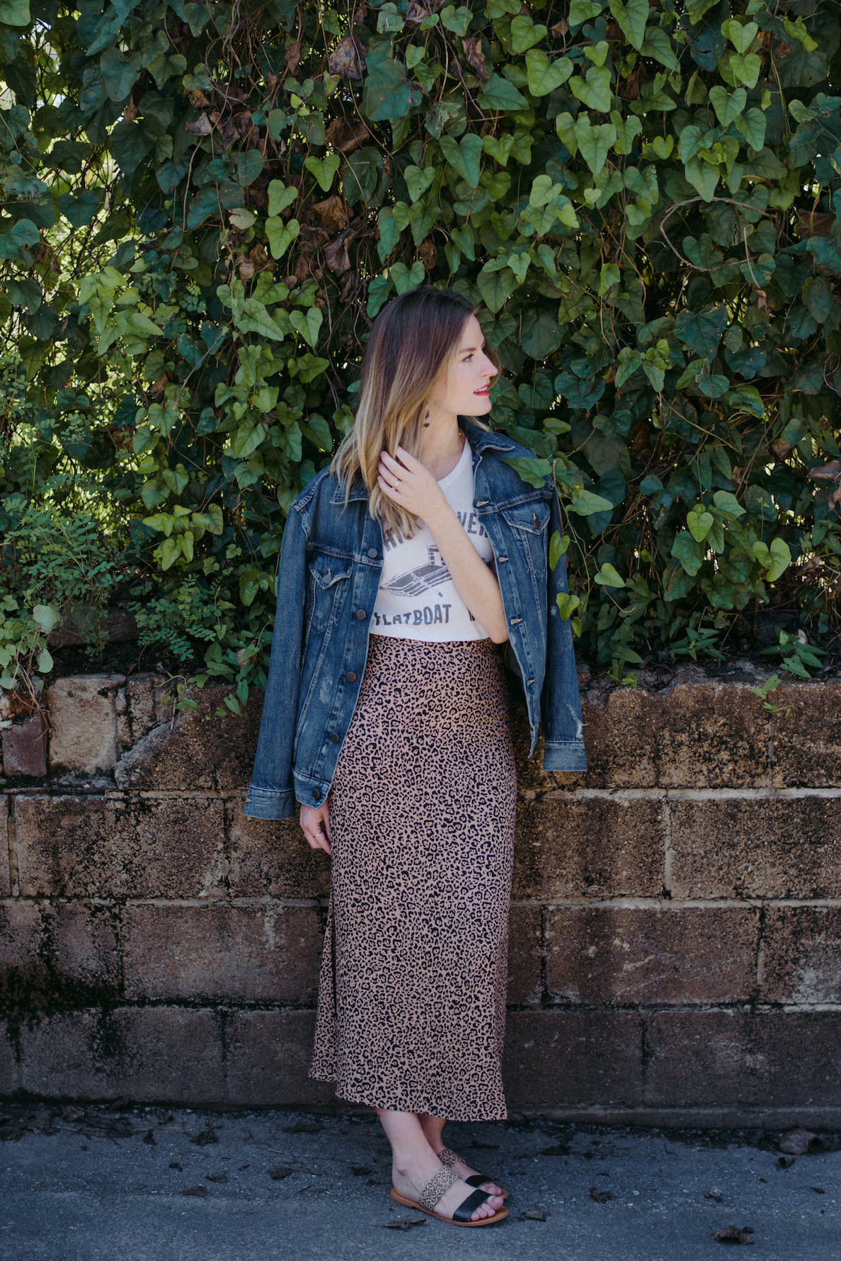 Denim jacket with leopard print skirt // A Week Of  Nashville-Chic Ethical Outfits With Jordan Soderholm, Fashion Director At ABLE on The Good Trade