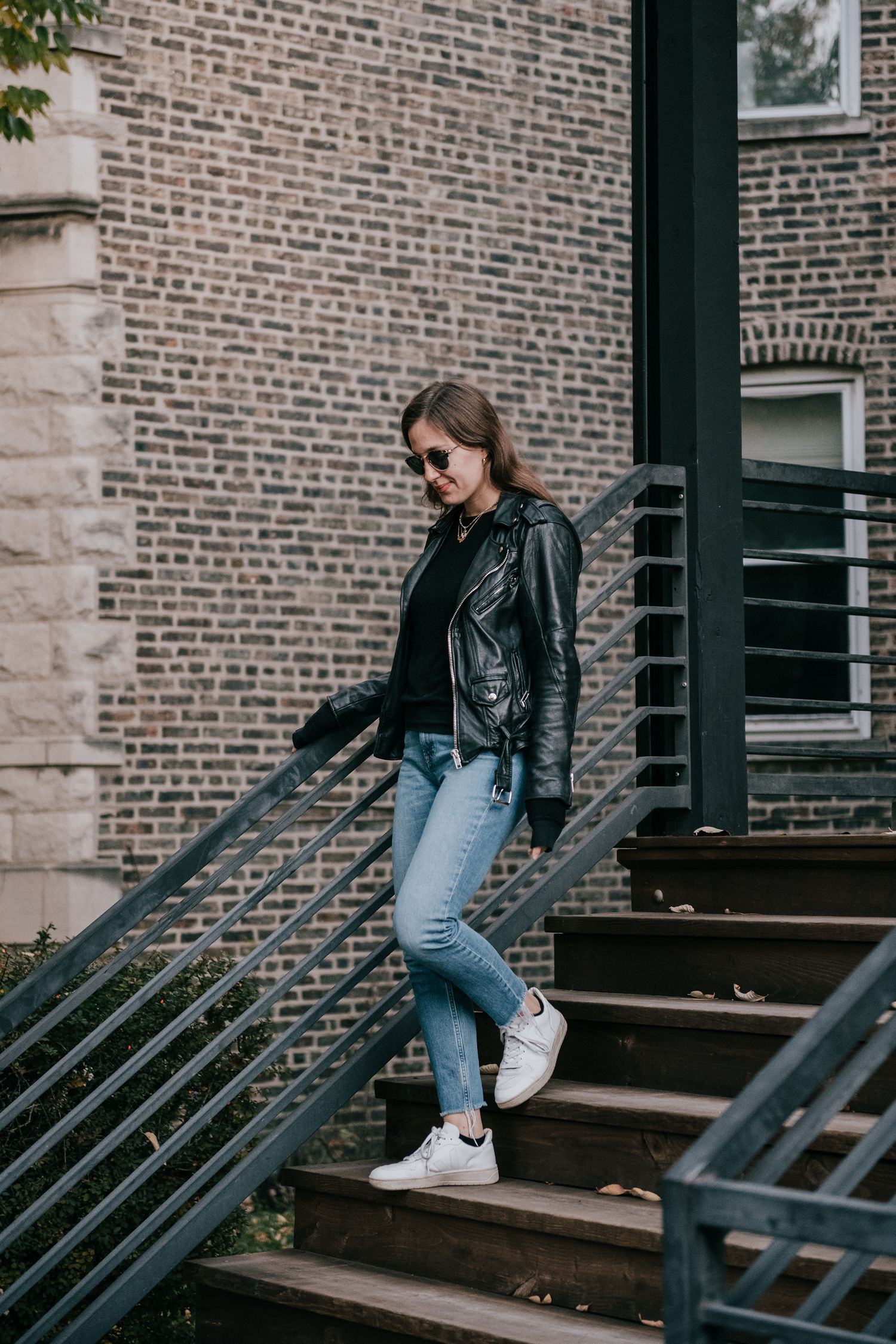 Leather jacket and Everlane denim jeans - A Week Of Ethical Outfits With Heart With Carly Gerber From Hippie + Heart on The Good Trade