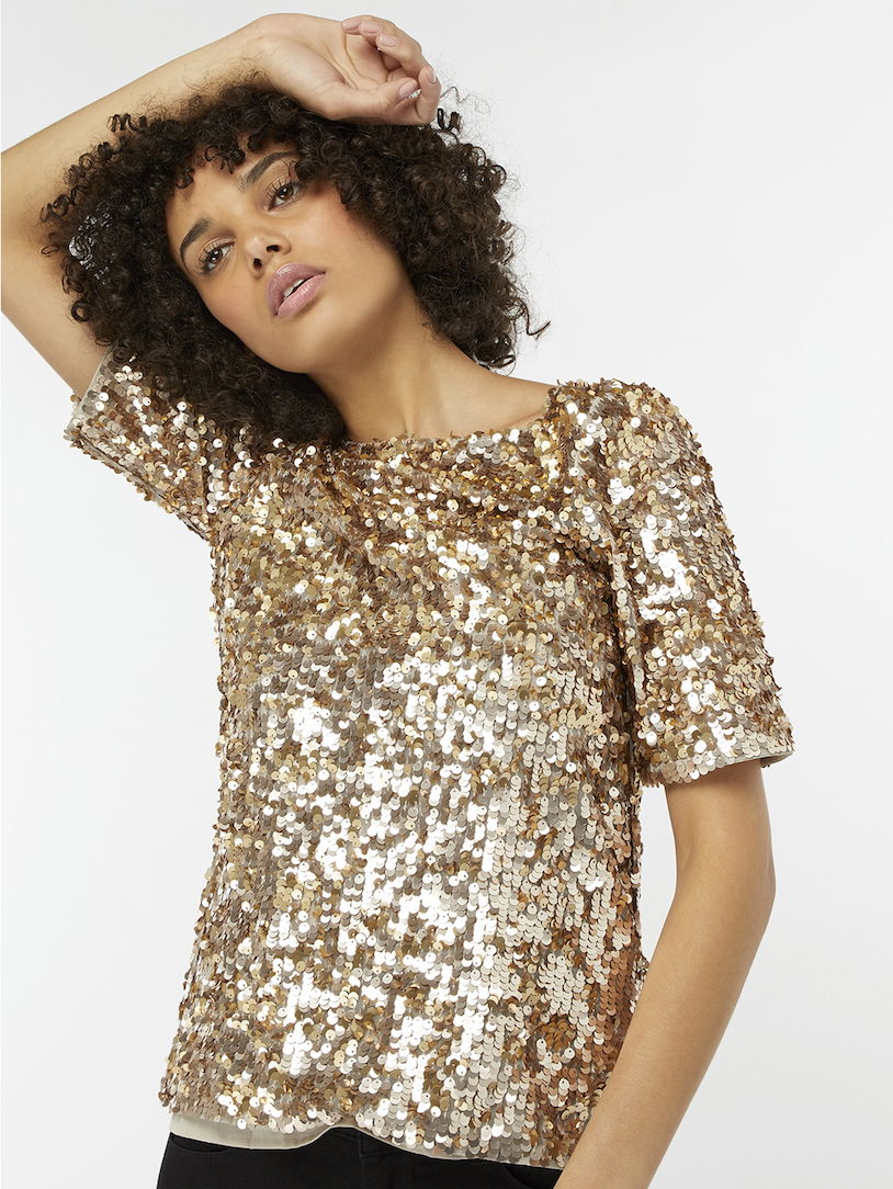 Juliet Gold Sequin Top from Monsoon London - Sparkling Sustainable Fashion Statement Pieces on The Good Trade