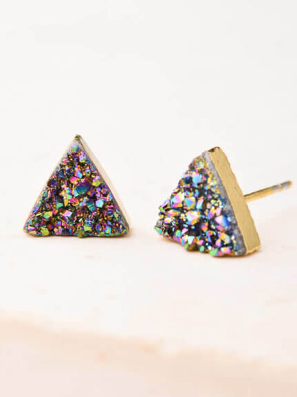 Kyra Druzy Stud Earrings from Starfish Project - Sparkling Sustainable Fashion Statement Pieces on The Good Trade