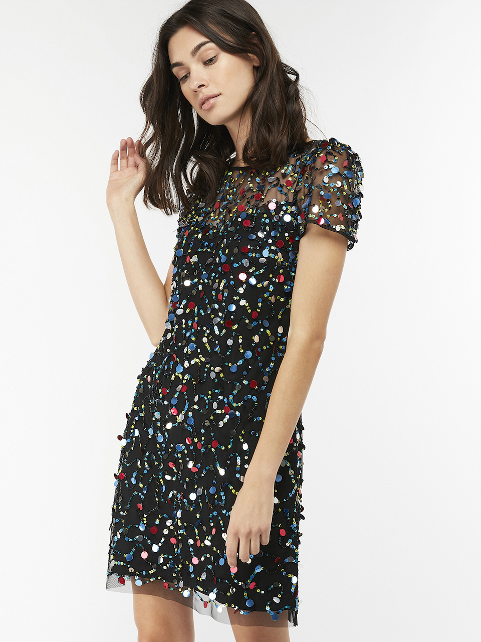Agnes Sequin Hand Embellished Dress from Monsoon London - Sparkling Sustainable Fashion Statement Pieces on The Good Trade