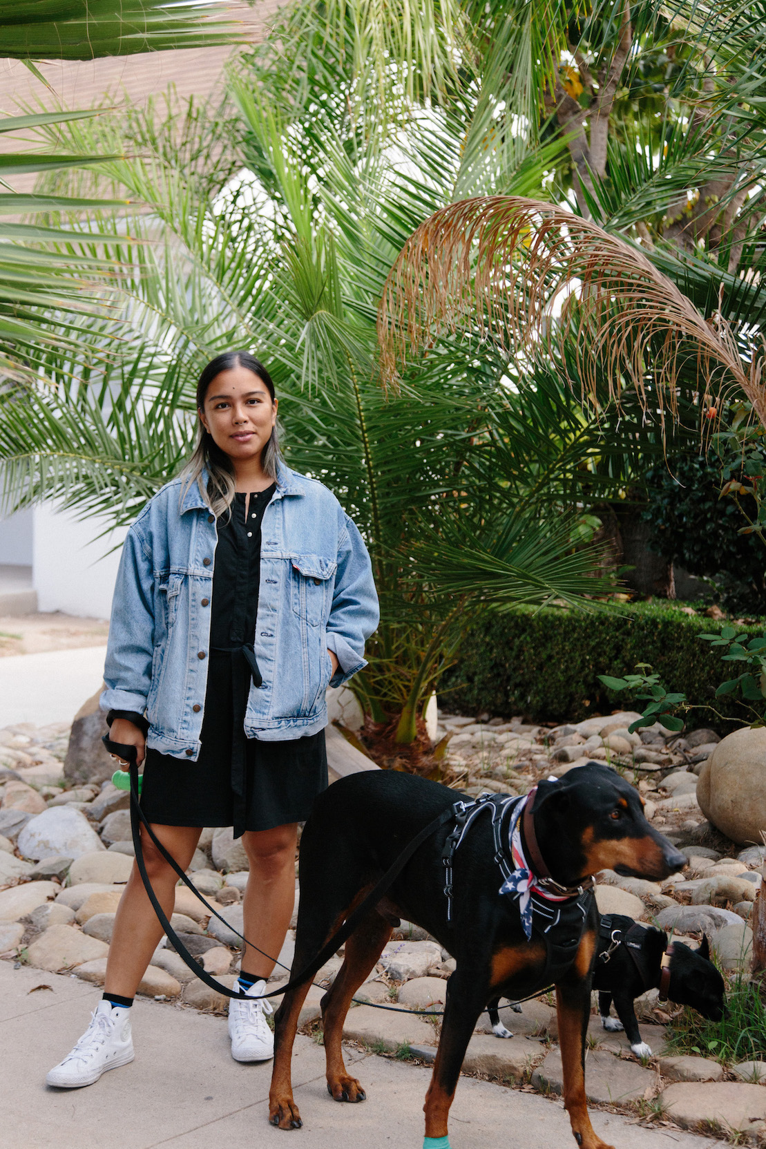 Black jumpsuit with denim jacket - A Week Of Super-Chill Conscious Fashion With Isadora Alvarez, Founder Of Back Beat Rags on The Good Trade