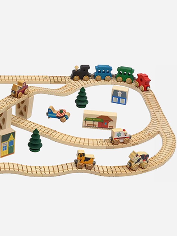 NameTrain Wooden Train Town Set - Maple Landmark - Plastic Free Gifts For Kids on The Good Trade