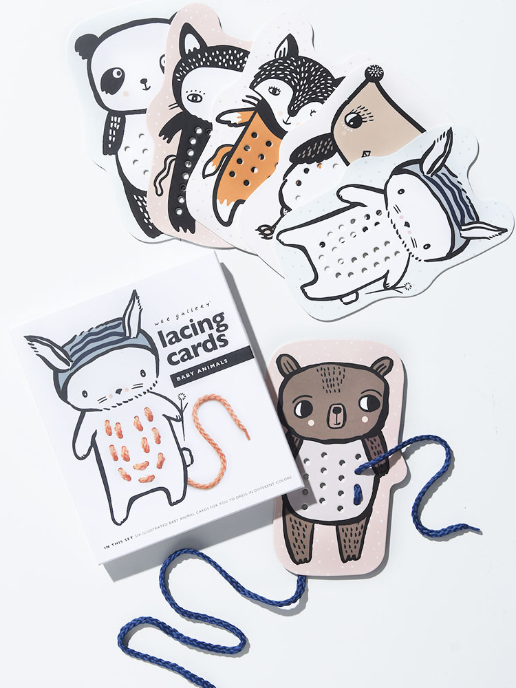 Baby Animal Cardboard Lacing Cards from Wee Gallery - Plastic Free Gifts For Kids on The Good Trade