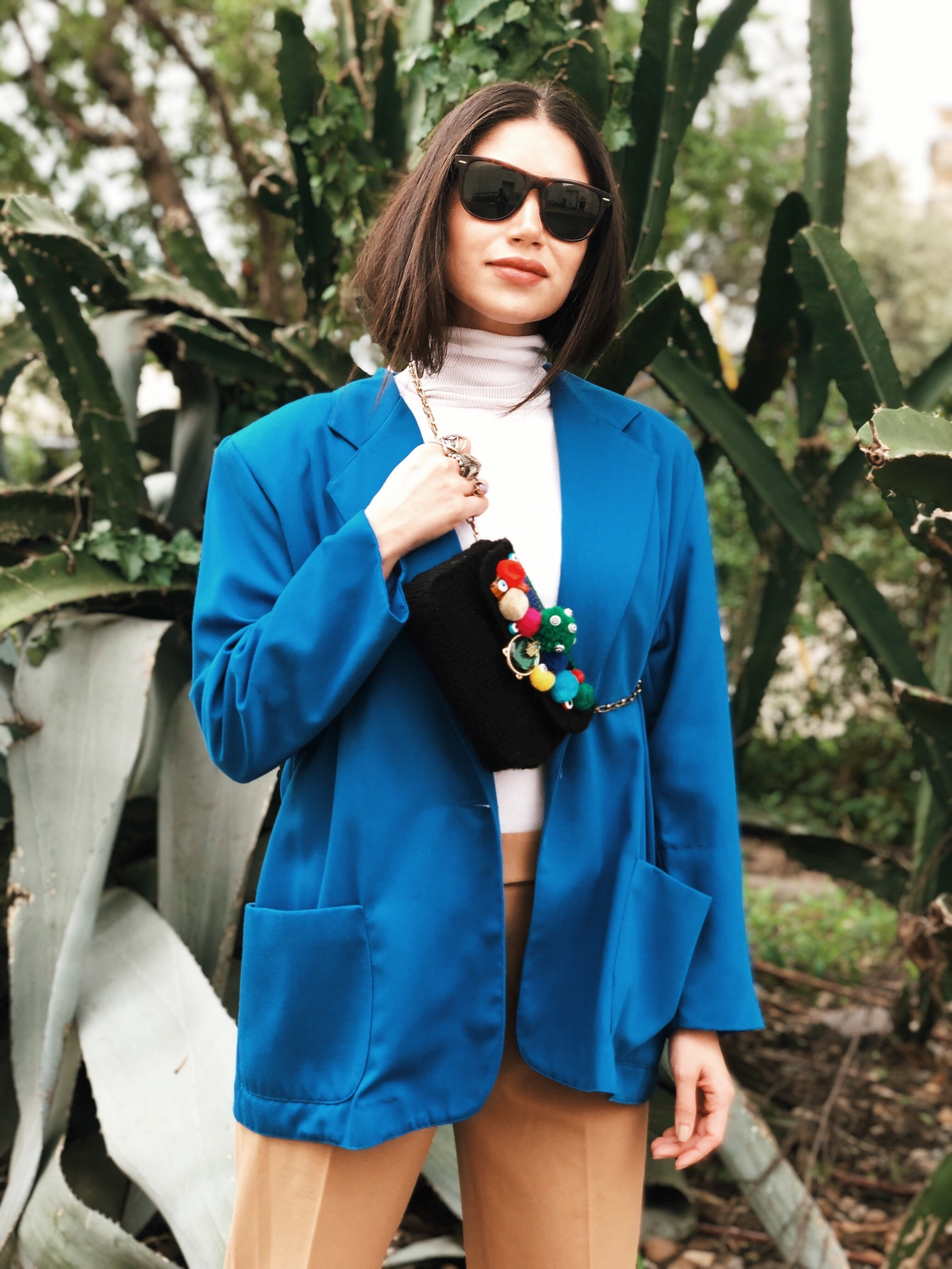 Upcycled pom pom bag and vintage outfit - A Week Of Cruelty-Free Outfits & Vegan Beauty With Jessica Salazar From All There August on The Good Trade