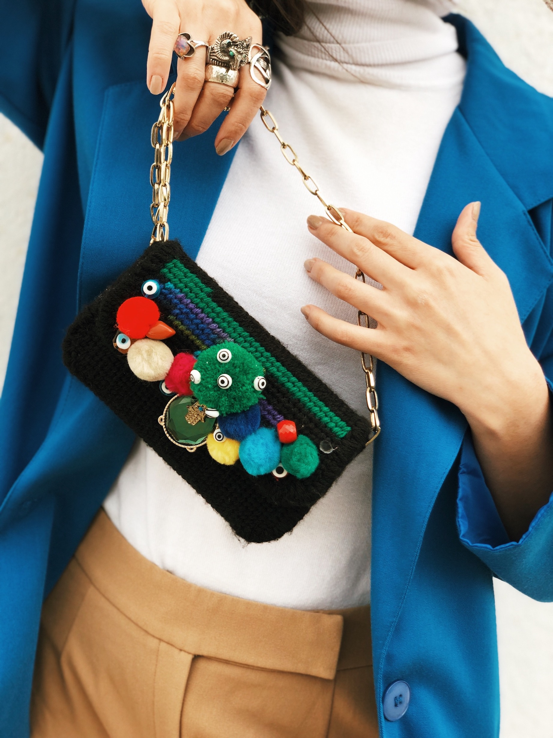 Upcycled pom pom bag - A Week Of Cruelty-Free Outfits & Vegan Beauty With Jessica Salazar From All There August on The Good Trade