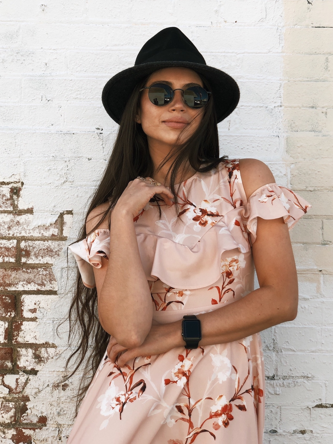 Black hat with floral dress - A Week Of Cruelty-Free Outfits & Vegan Beauty With Jessica Salazar From All There August on The Good Trade