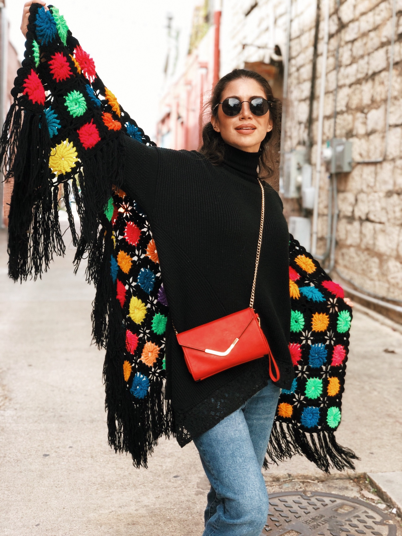 Crochet shawl with sweater - A Week Of Cruelty-Free Outfits & Vegan Beauty With Jessica Salazar From All There August on The Good Trade