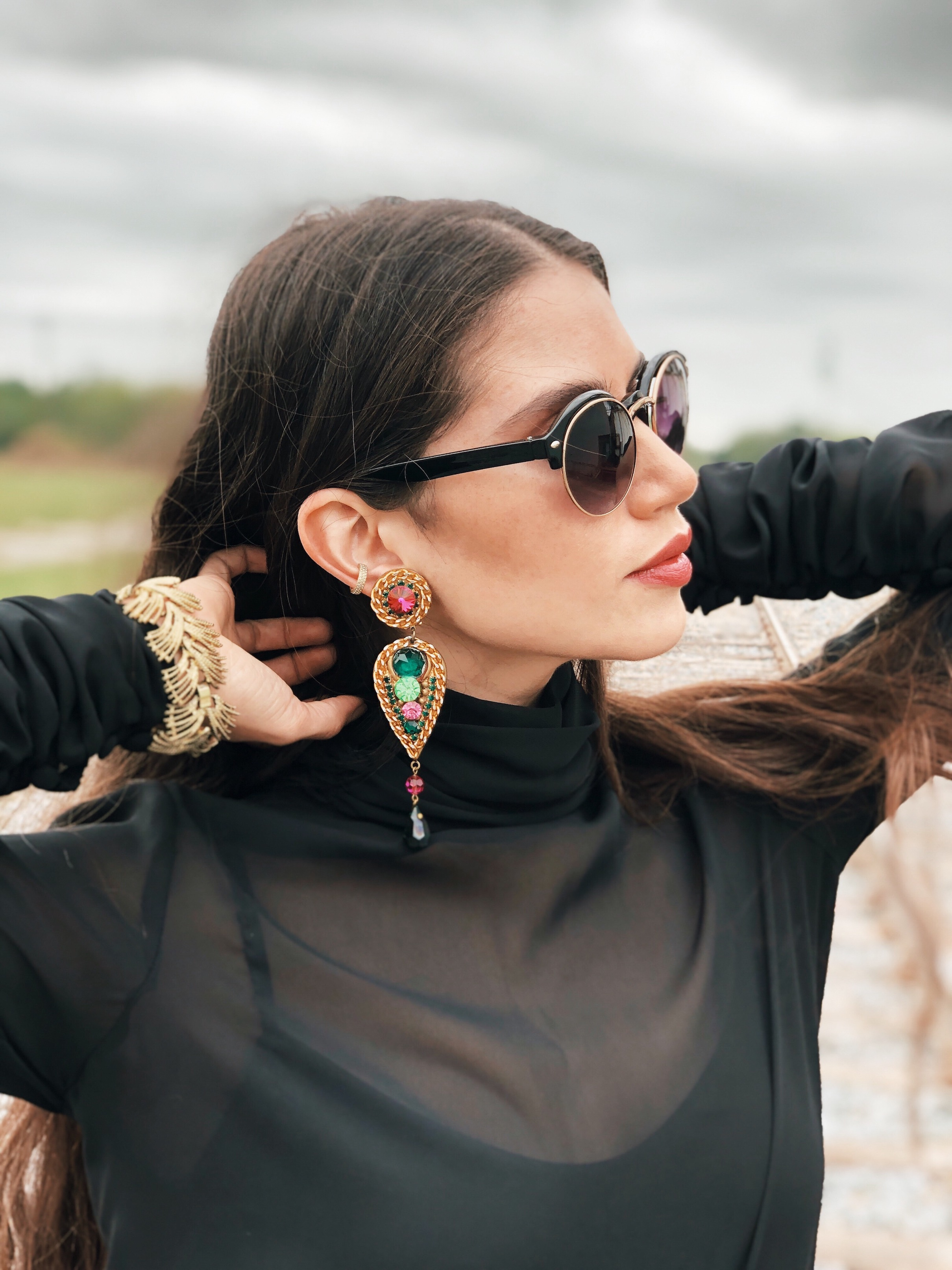 Bold statement jewelry - A Week Of Cruelty-Free Outfits & Vegan Beauty With Jessica Salazar From All There August on The Good Trade