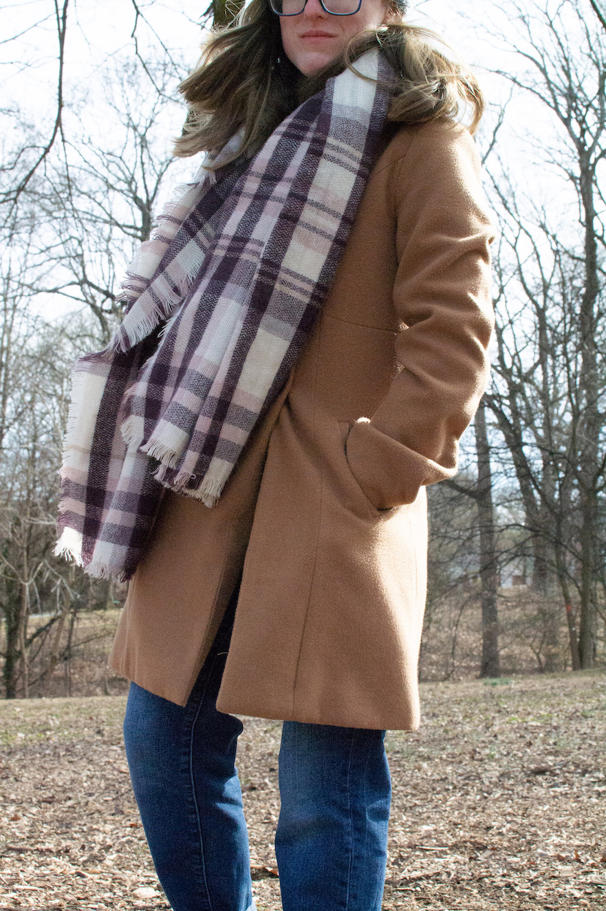 Purple scarf and camel coat // A Week Of Casual & Comfortable Secondhand Outfits With Lee Rogers From Layers Of Lee on The Good Trade