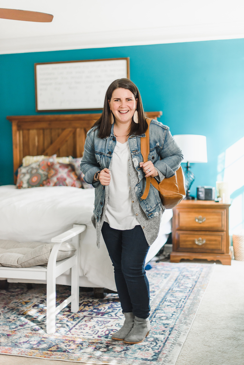 Denim jacket layered outfit // A Week Of Wearing Only 7 Pieces For 7 Days With Molly Stillman From Still Being Molly on The Good Trade