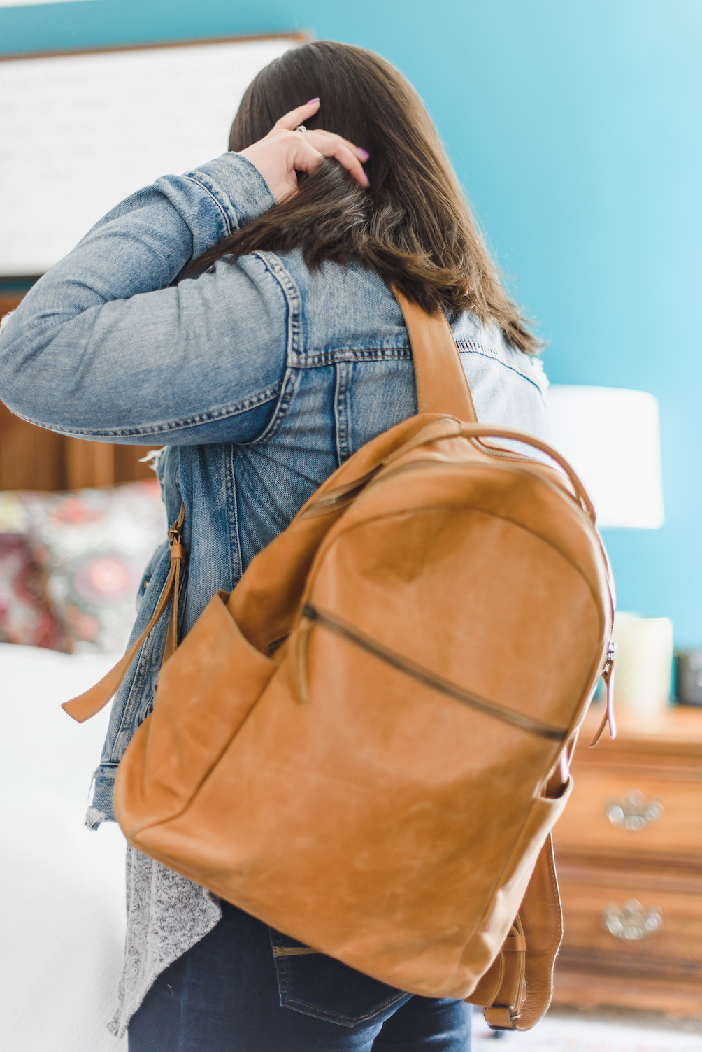 Camel backpack with denim jacket // A Week Of Wearing Only 7 Pieces For 7 Days With Molly Stillman From Still Being Molly on The Good Trade