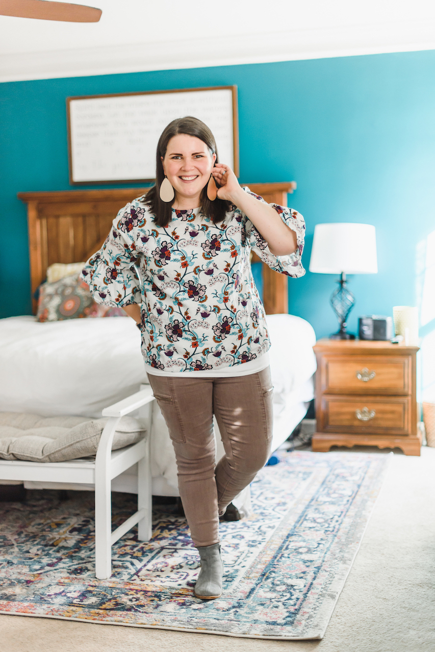 Floral top and pink denim // A Week Of Wearing Only 7 Pieces For 7 Days With Molly Stillman From Still Being Molly on The Good Trade